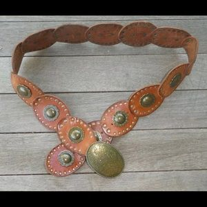 FOSSIL Leather Concho Belt
